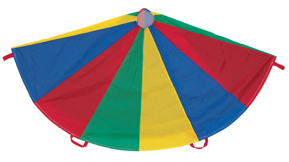 Multi-Color Parachute, with Handles. Available in 6', 12', 20' and 24'