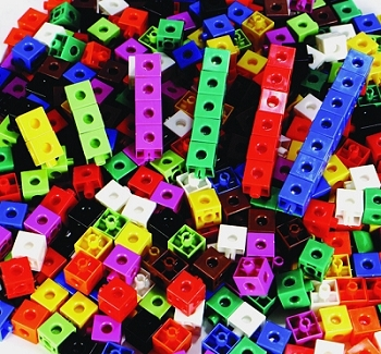 Linking Cube Set, Assorted Colors - Set of 100