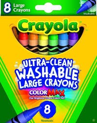 8 Count Large Ultra-Clean Washable Crayons