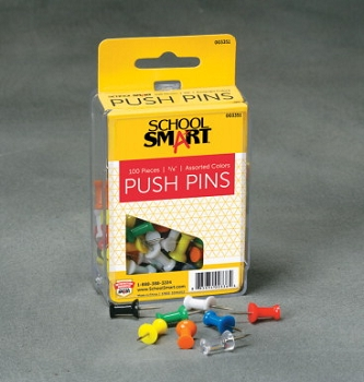 School Smart Push Pin for Bulletin Boards, Plastic Head/Steel Point, Assorted Color, Pack of 100