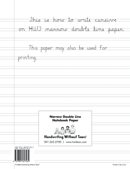 Handwriting Without Tears Double Line Narrow Paper - Pack of 100
