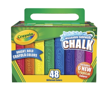 Crayola Non-Toxic Washable Sidewalk Chalk - Assorted Colors - Pack of 48