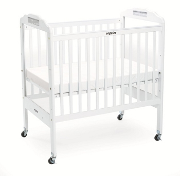 Angeles Adjustable Fixed-Side Clear Panel Crib, White
