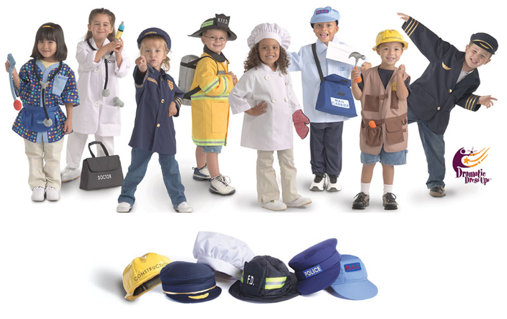 Community Helper Dress Up Collection PLUS 6 Extra Hats