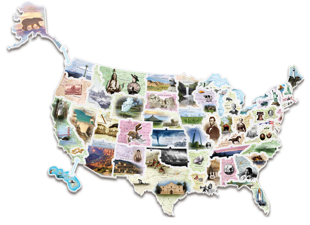 WonderFoam Giant USA Photo Puzzle Map