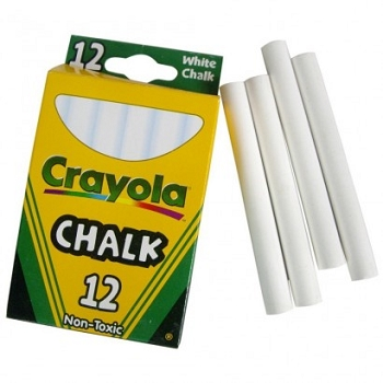 Crayola Children's Chalk, White - 12 Count