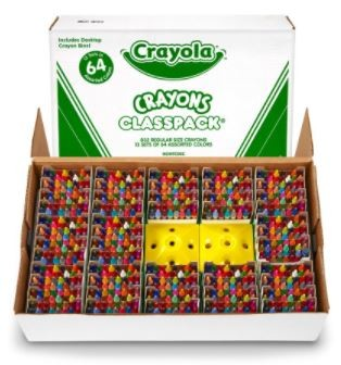 Crayola Crayon Classpack - 832 Regular Sized Crayons - 64 Colors and Sharpener