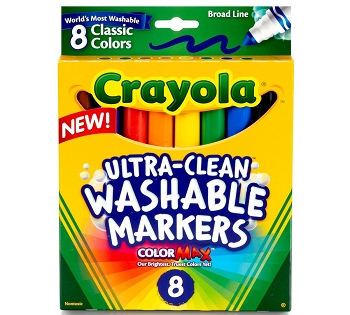 Crayola Ultra-Clean Washable Broad Line Markers - Bright - Set of 8