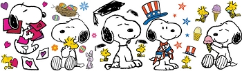 Peanuts Spring Summer Snoopy Poses Bulletin Board Set
