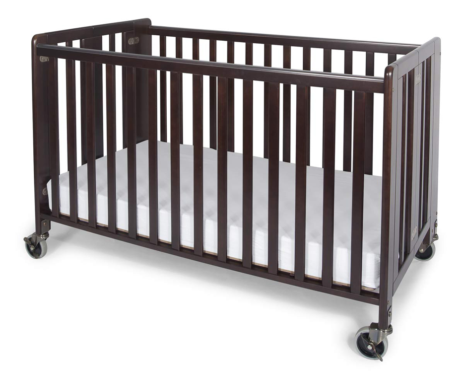 Full-Size HideAway EasyRoll  Folding Fixed Side Wooden Evacuation Crib - Antique Cherry or Natural