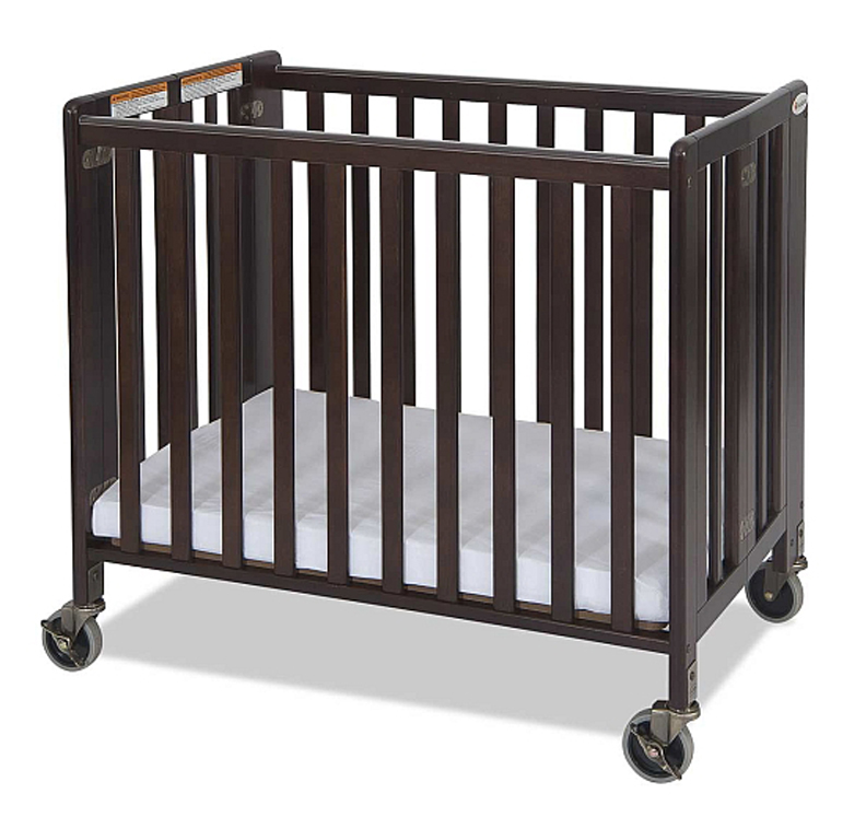 Compact HideAway EasyRoll Folding Fixed-Side Wooden Evacuation Crib - Antique Cherry or Natural
