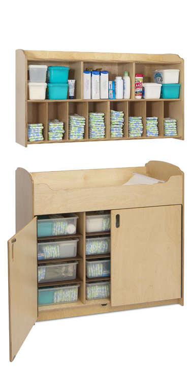Serenity Changing Set - Changing Table with Storage Bins and Diaper Organizer