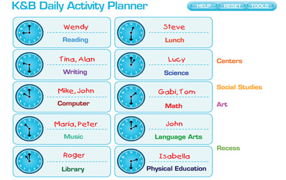 Interactive White Board Software Program, Daily Activity Planner