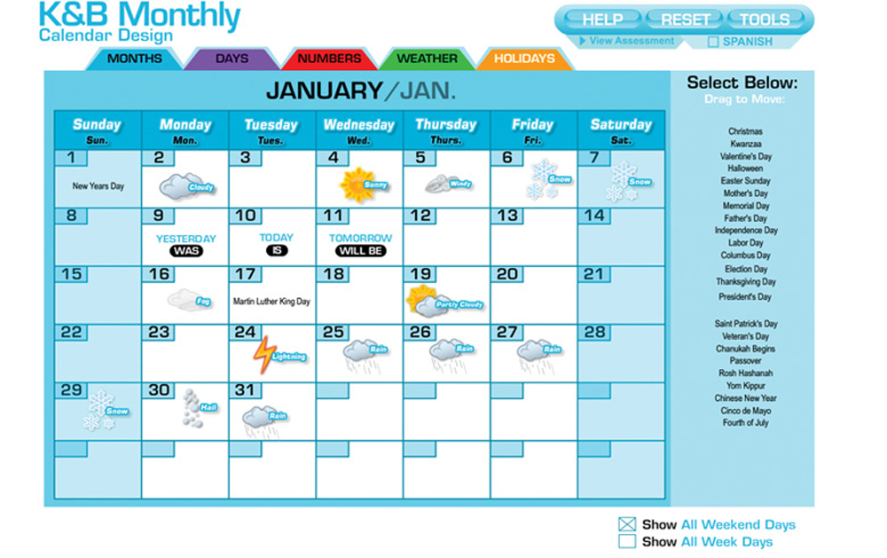 Interactive White Board Software Program, Monthly Calendar Design with Spanish