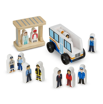 Multicultural Off to Work Block Play Bus Set