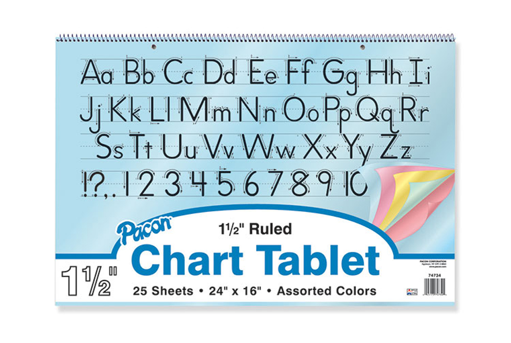 Colored Paper Chart Tablets, 1-1/2