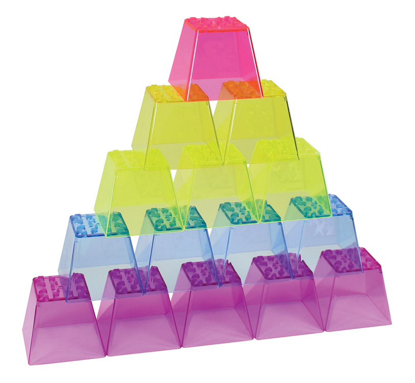 Crystal Color Stacking Blocks - 50 Pieces, 150 Pieces or 300 Pieces