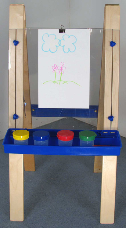 Mainstream Tall Adjustable Easel, Lexan Surface, 24''w x 30''h, Adjusts from 48''h - 60''h (Preschool-Toddler Shown)