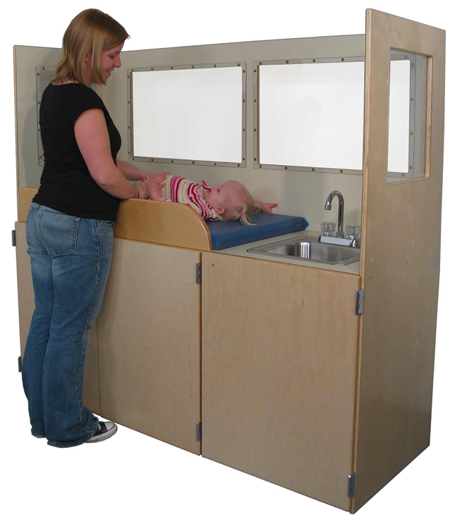 Mainstream Changing Station, Steel Sink, with Lexan Vision Panels, 66''w x 24''d x 60''h