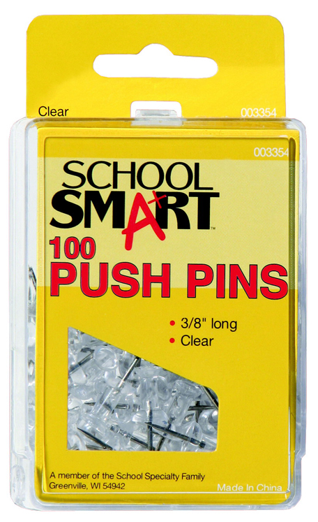 School Smart Push Pin for Bulletin Boards, Plastic Head/Steel Point, Clear, Pack of 100