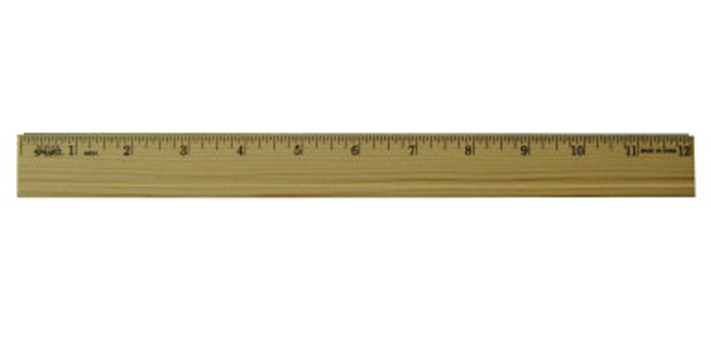 School Smart Inches Single Bevel Wood/Metal Edge Ruler, 12