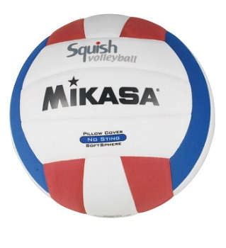 Mikasa Squishy No Sting Synthetic Cover Official Size Indoor Volleyball Trainer, Red/White/Blue