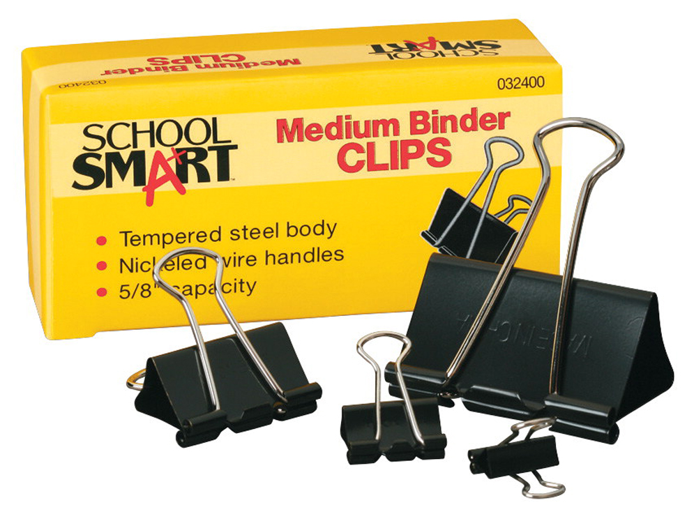 School Smart Binder Clip, Mini, 1/4