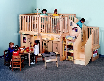 Preschool Height Basic Loft with Wood or Plexi Rails (Toddler Height with Wood Shown)