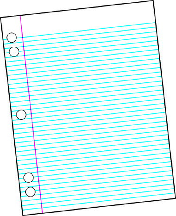 School Smart Sulphite 5-Hole Punched Theme Pad, White - 40 Sheets