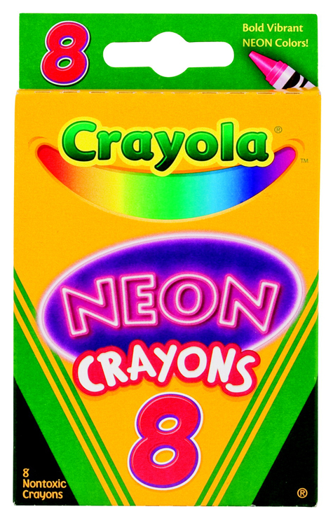 Crayola Non-Toxic Crayon - Assorted Neon Color - Pack of 8