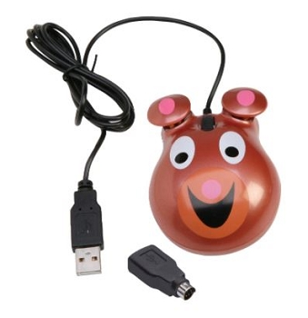 Califone Optical Bear Theme Computer Mouse, ABS Plastic, 3-1/2