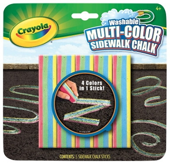 Crayola Non-Toxic Washable Sidewalk Chalk - Assorted Colors - Pack of 5