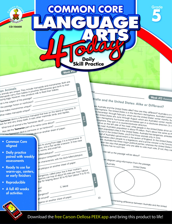Carson-Dellosa Common Core Language Arts 4 Today Workbook, Grade 5