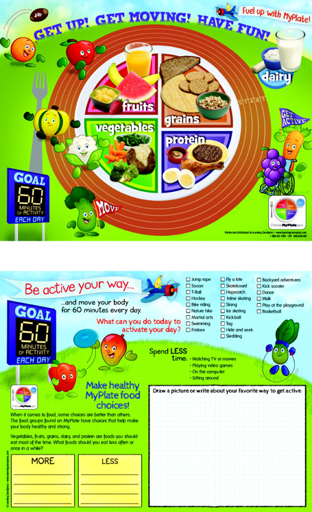 Learning ZoneXpress Active Kids MyPlate 2-Sided Handout - 50 Sheets