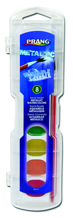 Prang Non-Toxic Washable Semi-Moist Watercolor Paint Set, Assorted Metallic Color - Set of 8