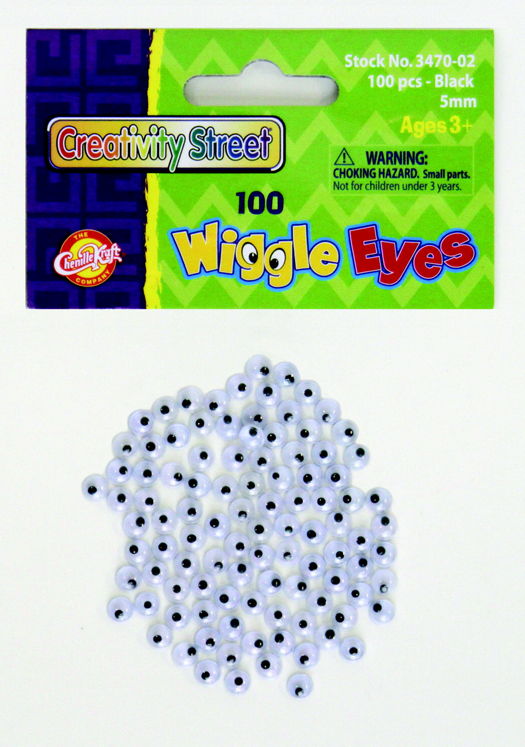 School Smart Round Wiggle Eye, 5 mm, Black on White - Pack of 100