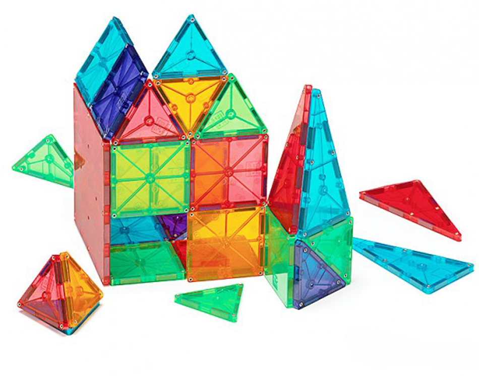 Magna-Tiles 3-D Magnetic Building Tiles, Clear Colors - Set of 100