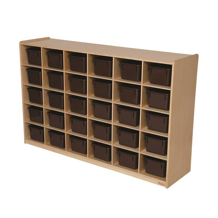 Baltic Birch 30-Cubby Single Storage Unit with Chocolate Tubs
