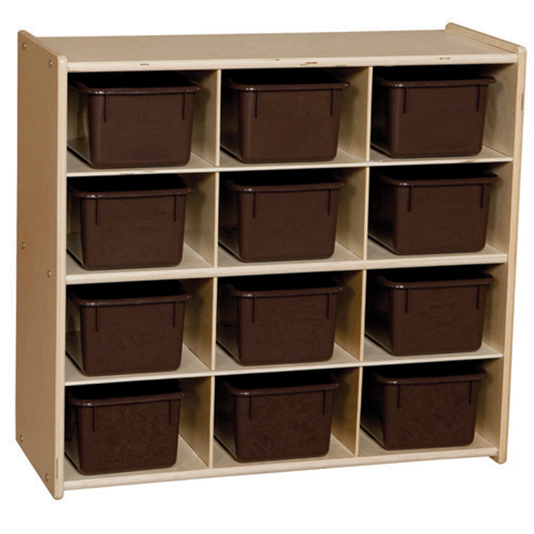 Baltic Birch 12-Cubby Storage Unit with Chocolate Tubs