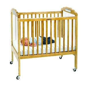 Angeles Adjustable Fixed-Side Clear Panel Crib - Natural
