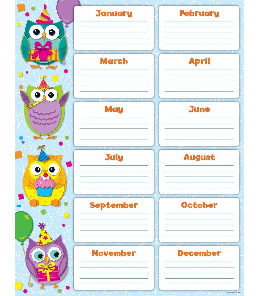 Kids Birthday Calendar : Colorful owls birthday chart