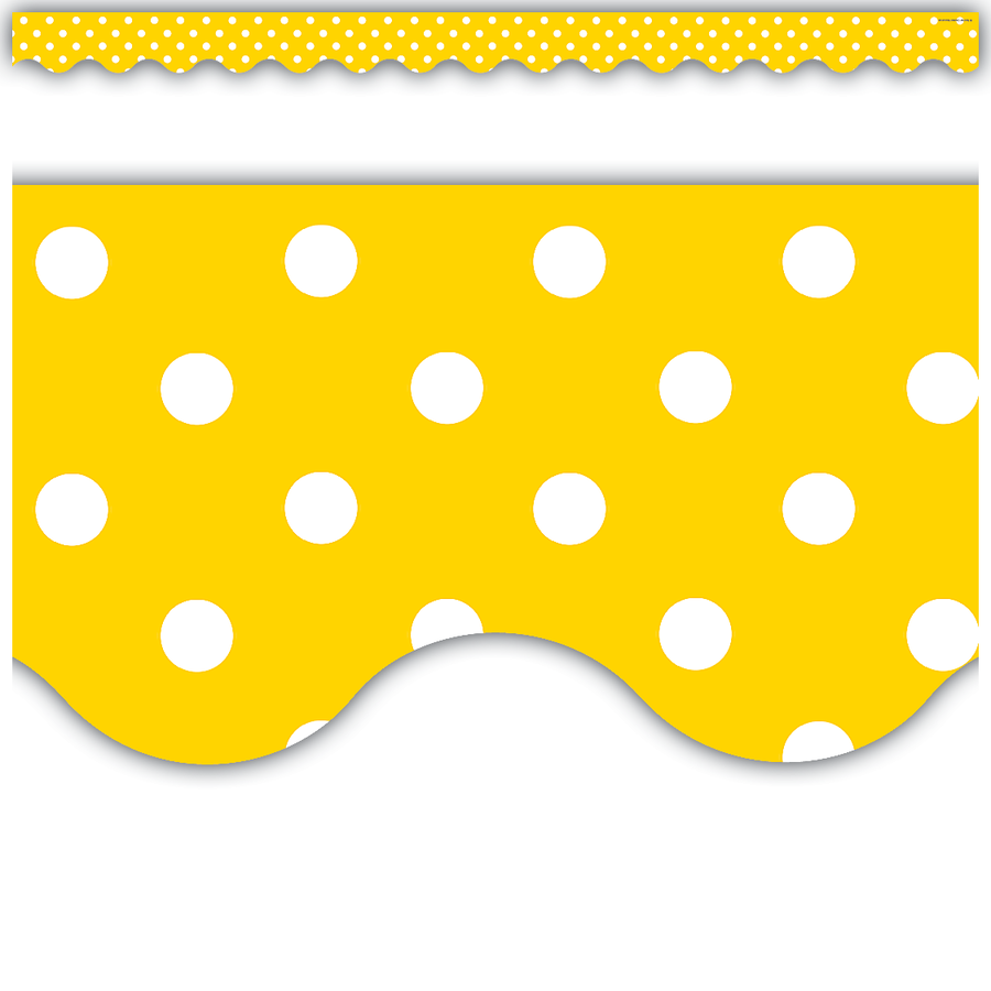 Up To 75 Discount On Yellow Polka Dots Scalloped Border Trim Www