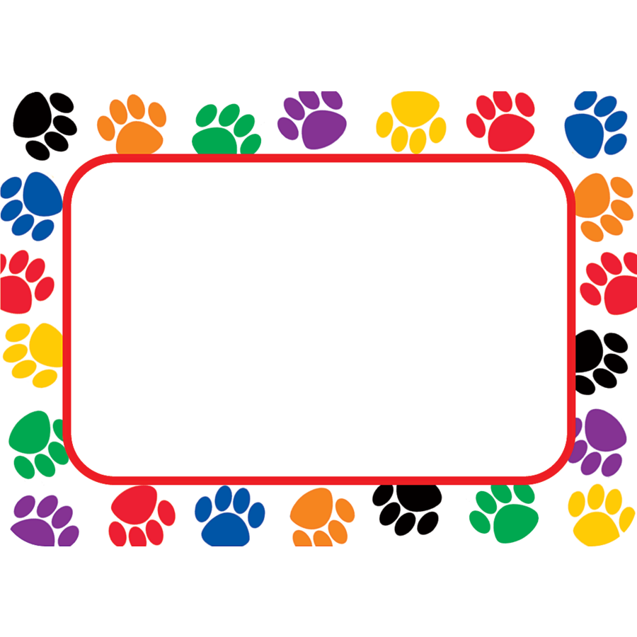 Up To 75 Discount On Colorful Paw Prints Name Tags Labels