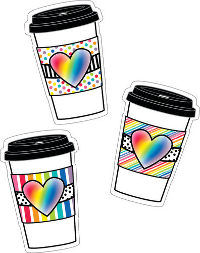 Schoolgirl Style™ Industrial Café Rainbow To-Go Cups Colorful Cut-Outs®