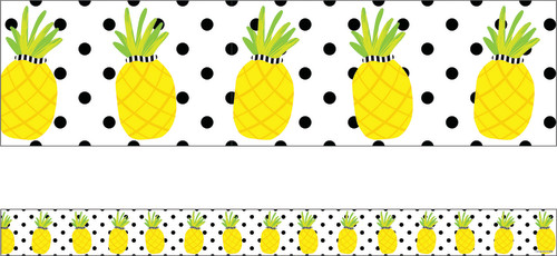 Schoolgirl Style™ Simply Stylish Tropical Pineapples Straight Borders