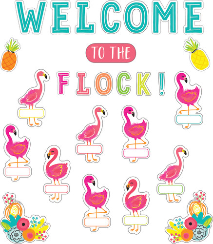 Schoolgirl Style™ Simply Stylish Tropical Welcome to the Flock Bulletin Board Set