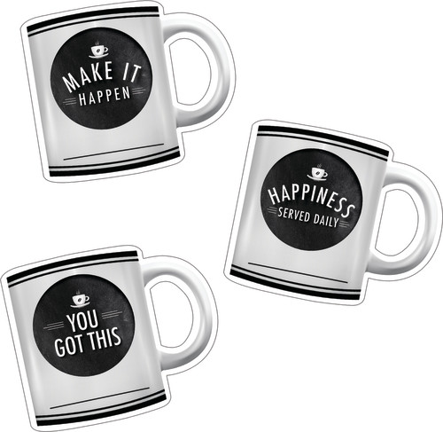 Schoolgirl Style™ Industrial Café Motivational Coffee Mugs Colorful Cut-Outs®