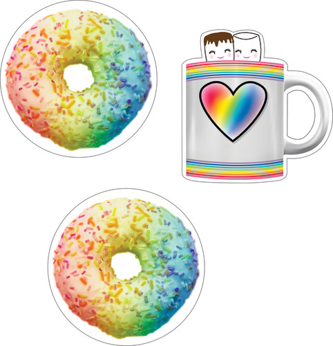 Schoolgirl Style™ Industrial Café Donuts & Cocoa Mugs Colorful Cut-Outs®