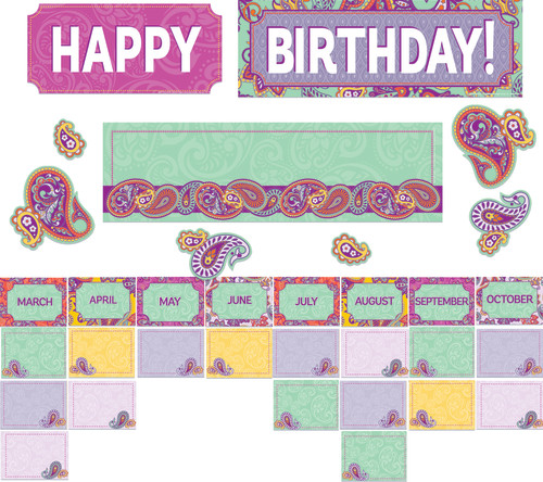 Positively Paisley Birthday Mini Bulletin Board Set