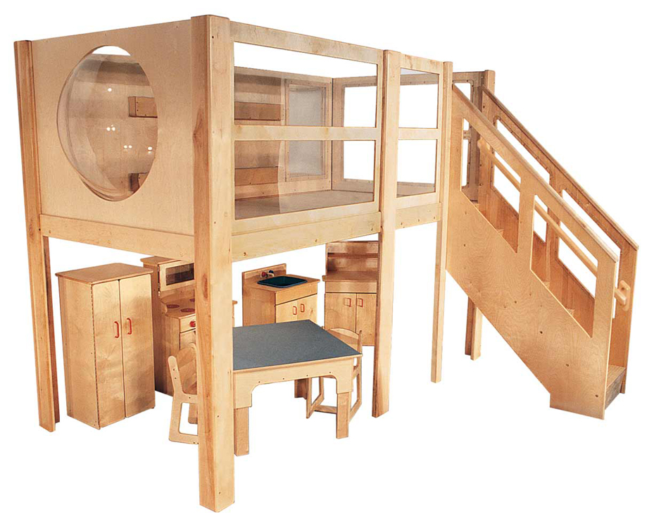 Mainstream Explorer 5 Expanded Preschool Loft 120 W X 60 D 52 H Deck Only Furniture Not Included Strictlyforkids